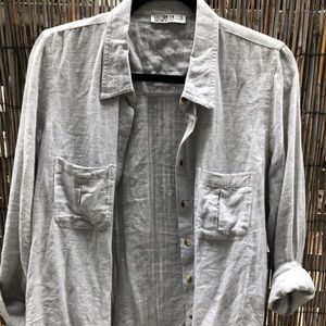 Grey Button-Up Double Breasted Pockets